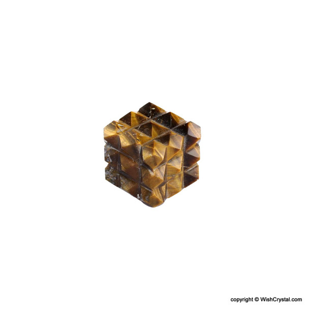Tiger Eye Pyramid Cube Aura Energy Generator with 54 Points