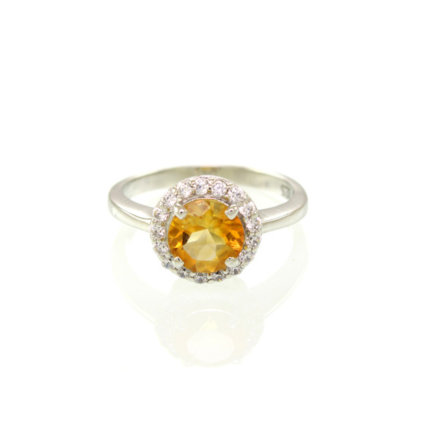 Princess Casual Solatire Gemstone Ring with Accent Cubic Zircona
