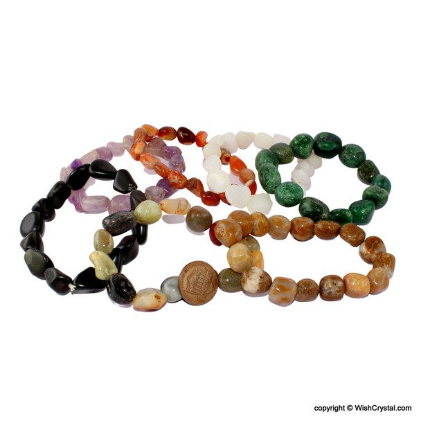 Natural Crystal Petite tumble bracelets - Stretchable