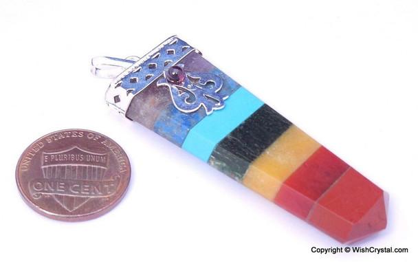 Chakra Stones Bonded Flat Pendant - Tibetan Craft