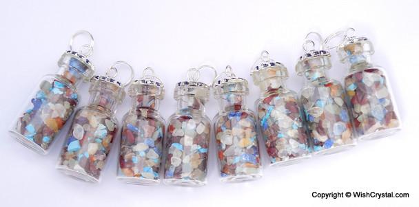 Chakra Stones Filled Bottle Pendant
