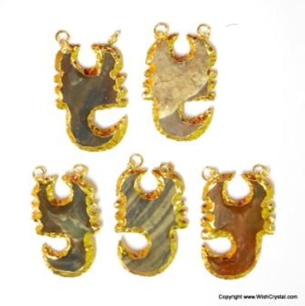 Gold Plated Agate Scorpian Pendant