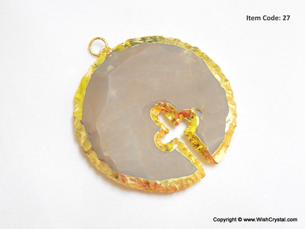 Gold Plated Agate Round Cross Pendant
