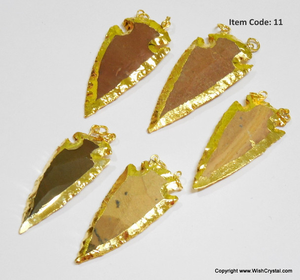Gold Plated Agate 2-inch double bail arrowhead