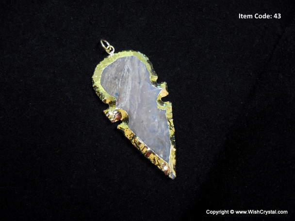 Gold Plated Agate Top-round Arrowhead Pendant