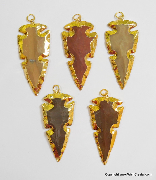 Gold Plated Agate 2-inch single cut Pendant