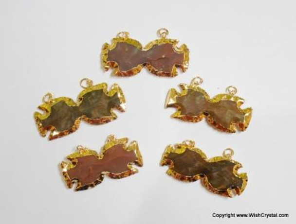 Gold Plated Agate Bow-Pointed Double Bail Pendant