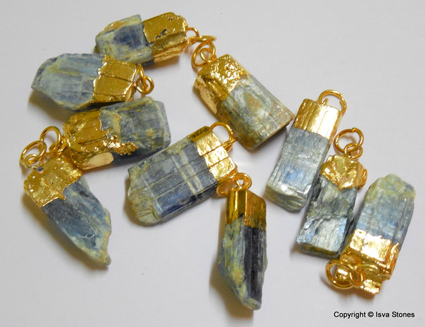 Blue Kyanite Gold Plated Rough Pendant