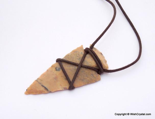 Native American Arrowhead Agate Leather Wrap Pendant