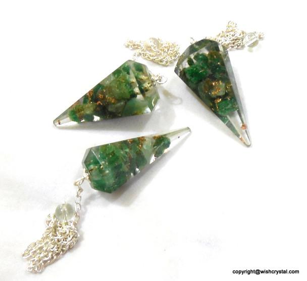 Green Aventurine Orgonite Pendulum - 6 Facets
