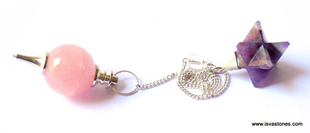 Rose Quartz Ball Pendulum with Merkaba Star