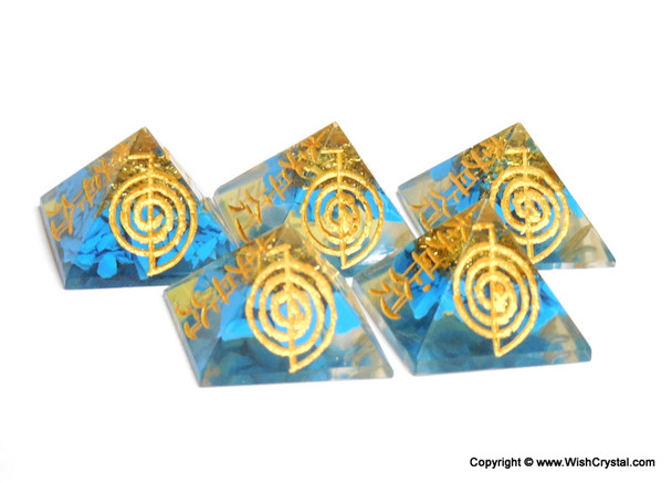 Halo Turquoise Orgone Pyramid with Engraved Reiki Sign