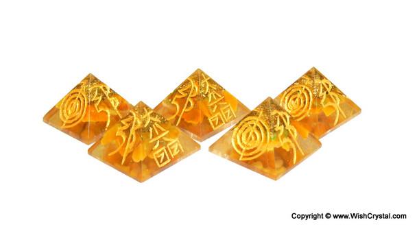 Yellow Aventurine Reiki Pyramid Engraved with Reiki Sign