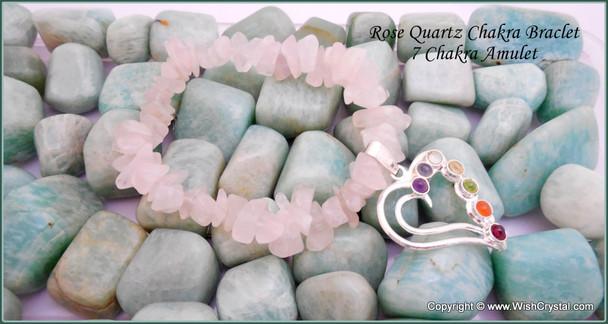Rose Quartz Chakra Bracelet Charm Amulet Heart