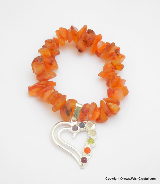 Carnelian Chakra Bracelet Charm Amulet Heart
