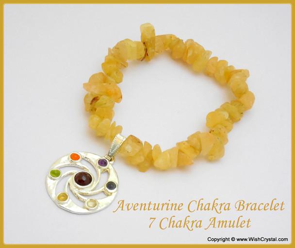 Yellow Aventurine Chakra Bracelet Charm Amulet Spiral