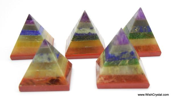 Chakra Stone Pyramid Bonded Chakra Pyramids - 28 to 30 mm