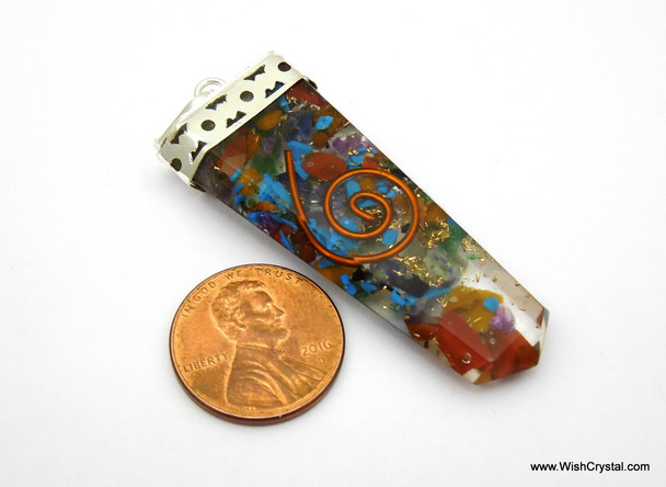 Orgonite Chakra Pendant with Crystals & Copper
