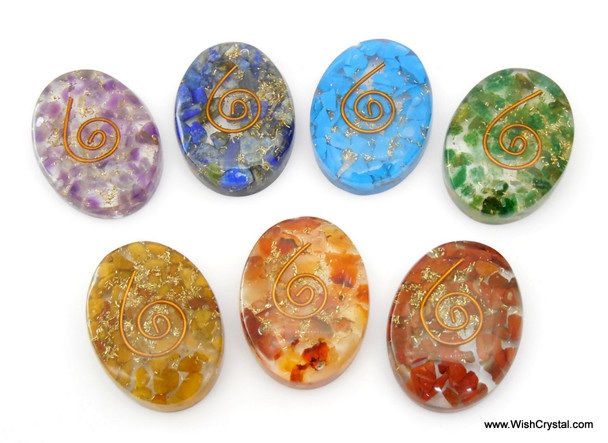 Set of 7 Chakra Oval Orgonite Worry Stones