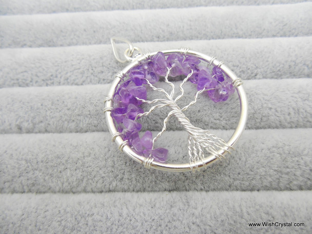 Amethyst Tree of Life Pendant - Round