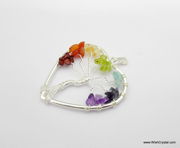 Chakra Stones Tree of Life Pendant - Heart