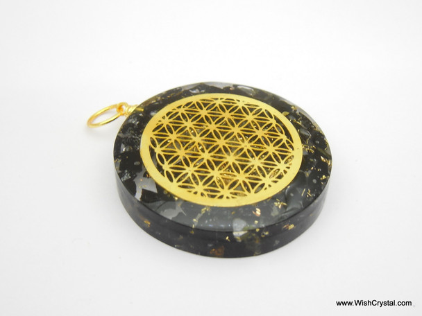 Black Tourmaline Orgonite Infinity Metal Pendant