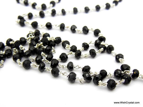 Black Spinal Beaded Rosary Chain - 1 (one) Feet - 3 - 4 mm Faceted beads