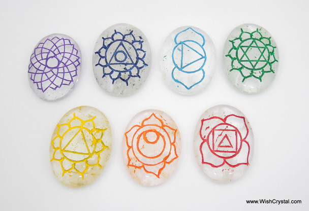 Chakra Stone Crystal Set Engraved with Reiki Signs - Oval Shape