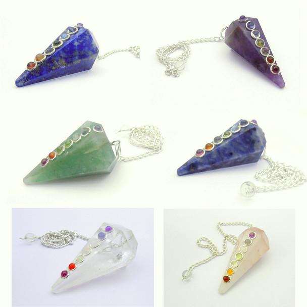 Wholesale Bag of 100 Chakra Stone Crystal Pendulums - Mixed
