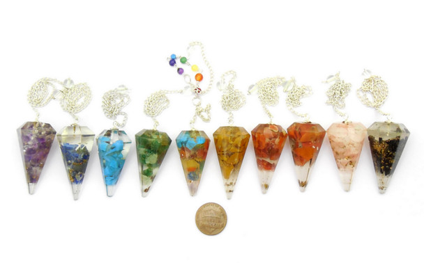 Set of 10 Orgonite Pendulums