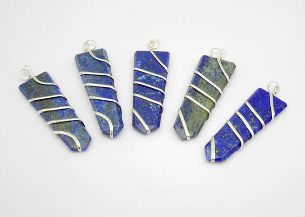 Lapis Lazuli 1 3/4 inch wire wrap pendant