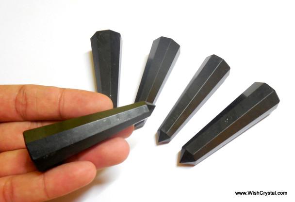 Black Tourmaline Faceted Obelisk Points