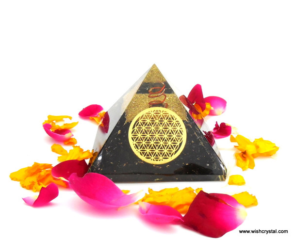 Black Tourmaline Pyramid with Infinity Metal