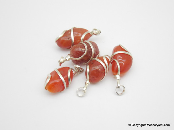 Red Carnelian Tumble Wire wrap pendant