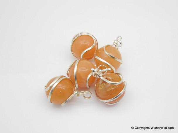 Red Aventurine sphere / ball wire wrap pendant