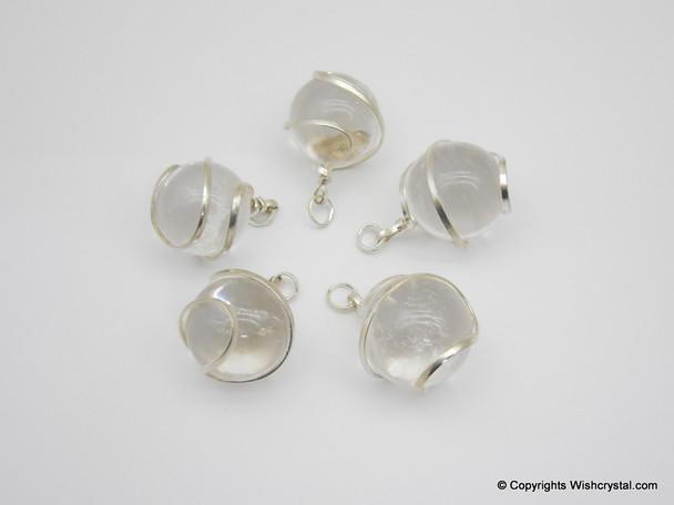 Crystal Quartz sphere / ball wire wrap pendant