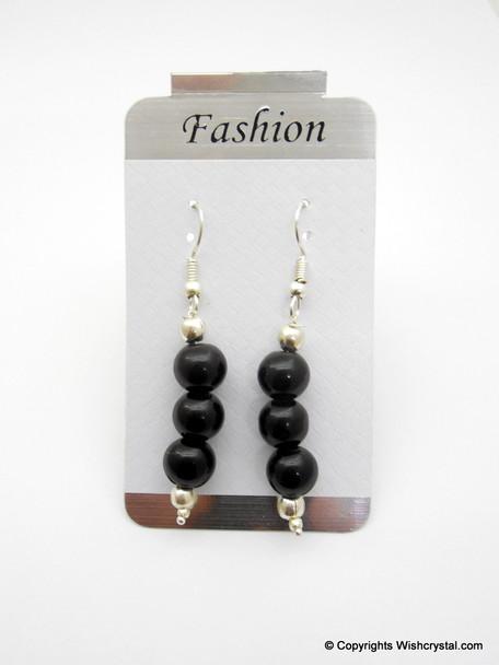 Black Onyx Beads Earring