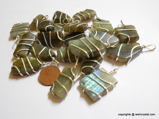 Labradorite wire-wrap pendants