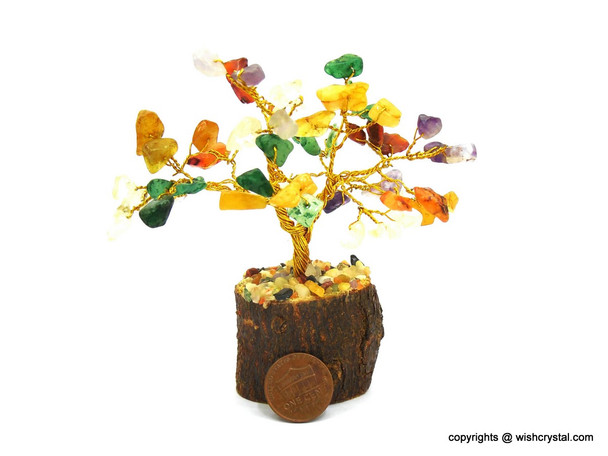 Chakra stones Bonsai Crystal Tree for Healing | 4-inch Height