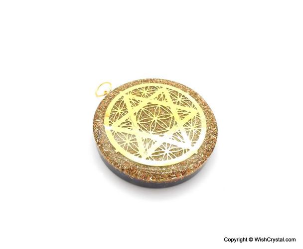 Orgonite Pendant Pentagram with Chakra Stones