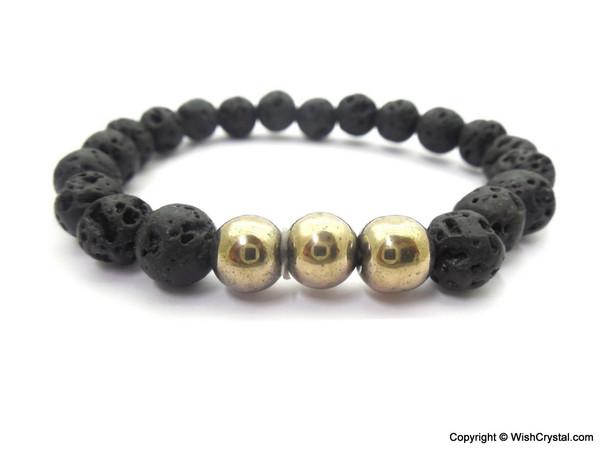 Pyrite & Lava Beads Chakra Bracelet