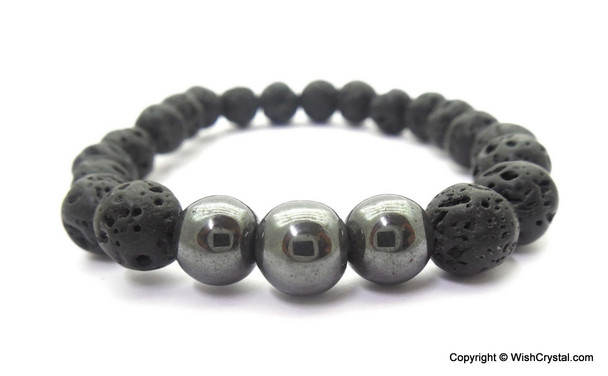 Hematite & Lava Beads Chakra Bracelet