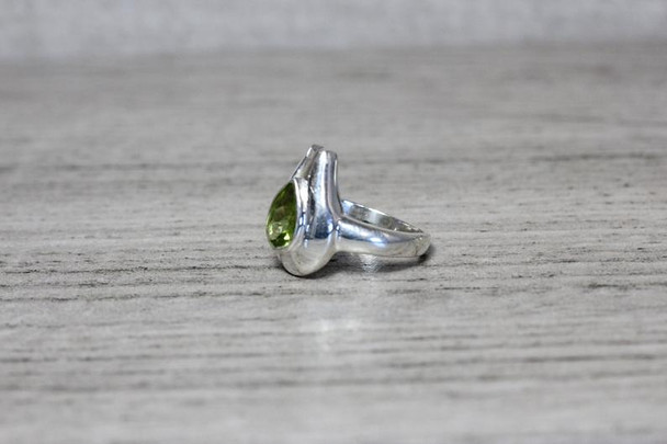 Silver Ring Pear Cut Bezel Set Gemstone Modern Teardrop Band