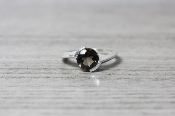 Partial Bezel Silver Ring Modern Twisted Shank Design Gemstone Statement Ring