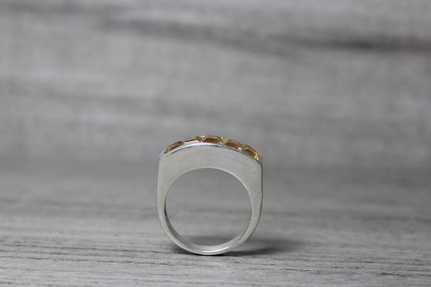 Princess Cut Citrine Silver Ring 5 Stone Modern Channel Set Band November Birthstone