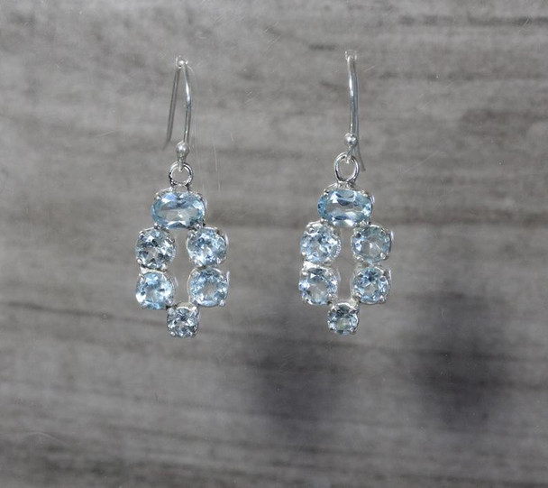 Large Cluster Dangle Earrings Sterling Silver 4 Prong