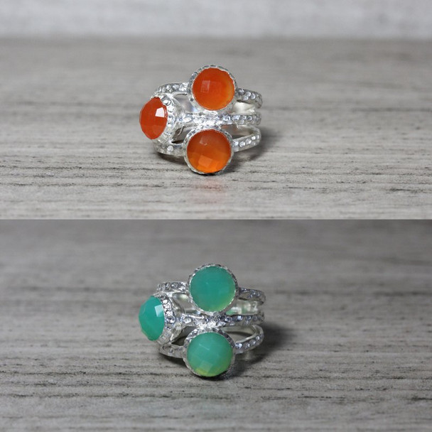3 Stone Ring Rose-Cut Gemstone Silver Statement Ring