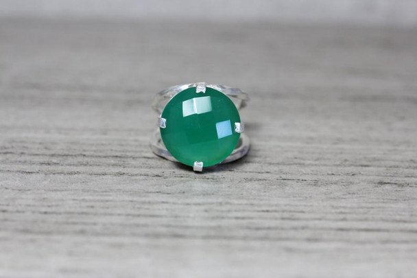 Checkerboard Cut Green Onyx Statement Ring Large 4 Prong Twisted Split Shank Design