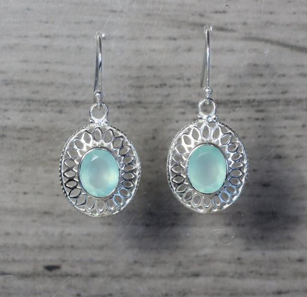 Large Oval Gemstone Silver Mesh Dangle Earrings Lightweight Filigree Design