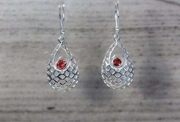 Drop Shaped Mesh Dangle Earrings Lightweight Silver Gemstone